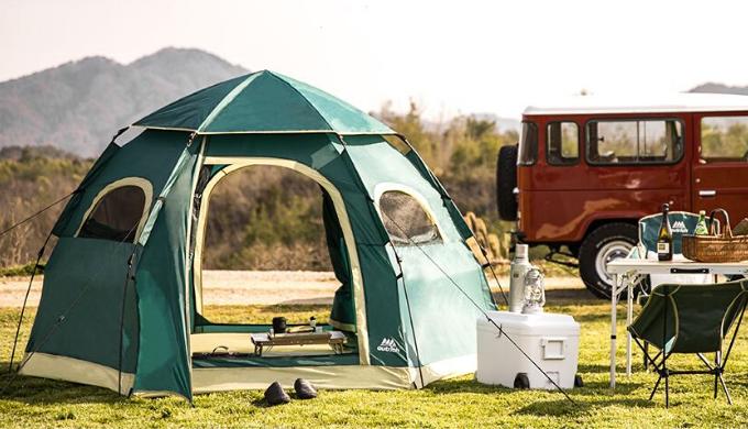 キャンプ用テントランキング8位 ワンタッチテントダブルドア大型5人用