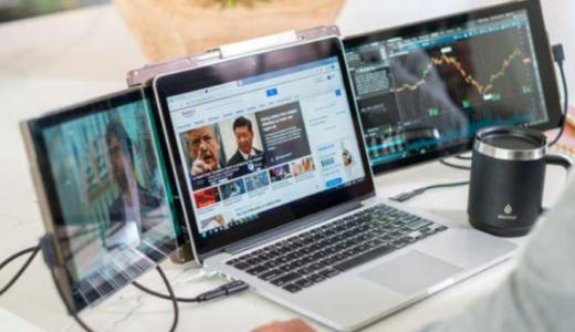 ノートパソコンのおすすめモニターは3画面の「Trio」 接続や取り付けも簡単